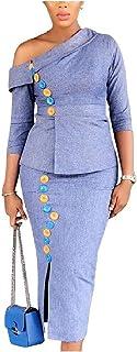 YAXINHE 女性ビジネス分割片肩フォーマル2ピーススカートスーツセット