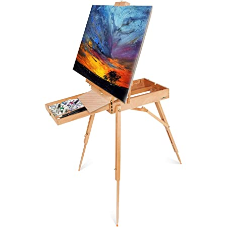 Showmaven Wooden Art Easel Stand Portable French Style Painting Easel W Storage Sketch Box Foldable Tripod Easel Stand For Painting Sketching Display