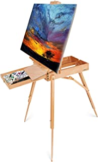 ShowMaven French Style Wooden Art Easel Stand with Sketch Box,Portable Travel Drawing Artist Tripod w/Storage Drawer Case,Triangular Floor Stand,Collapsible Foldable Outdoor,Oil Painting Painters