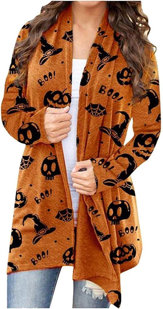 Masbird Halloween Cardigan for Women, Womens Cute Pumpkin Ghost Printed Long Sleeve Tops Open Front Lightweight Coat