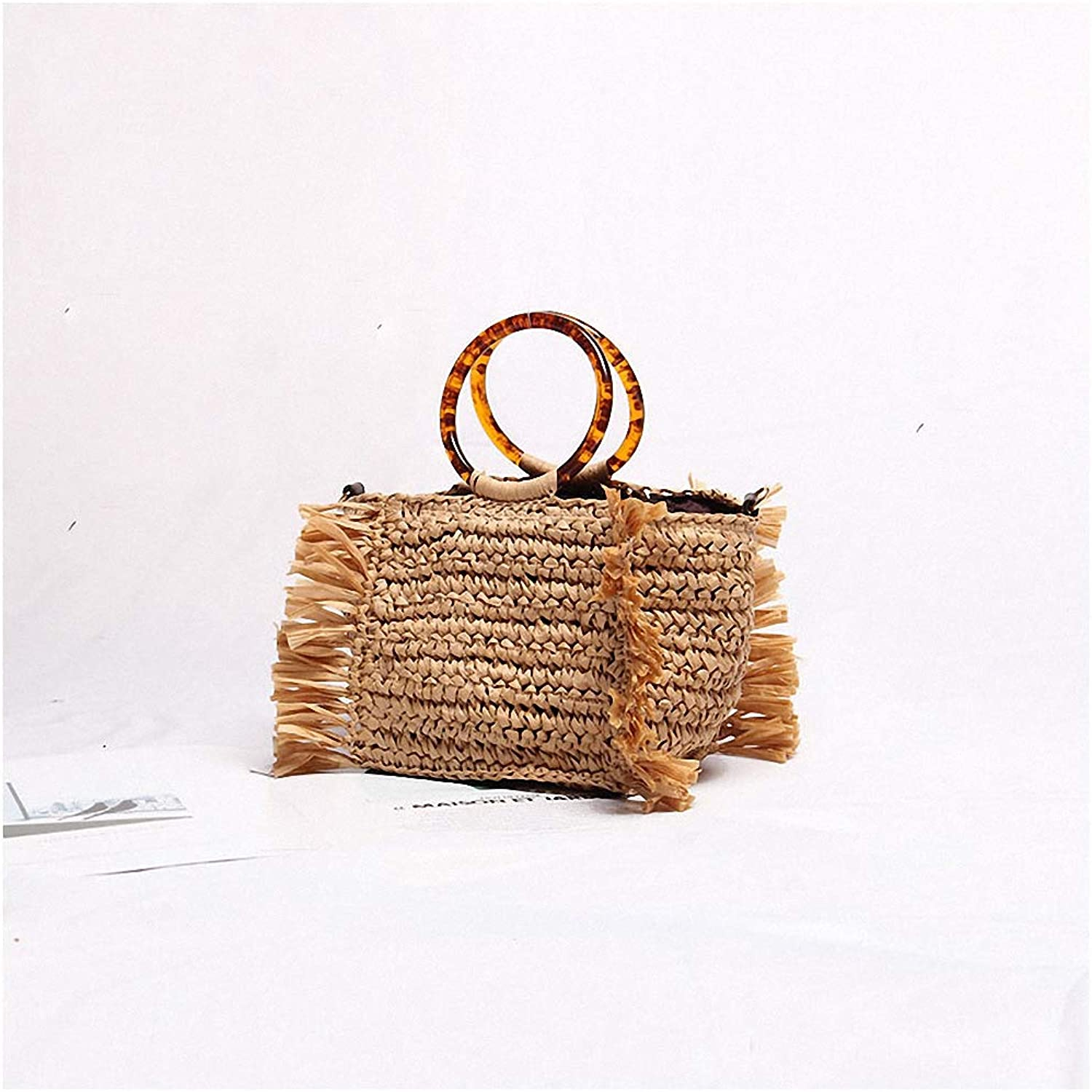 Nyusdar Vintage Women Shoulder Casual Bag Straw Handmade Beach Shopping Bag Rattan Handbag Summer Fashion Women Handbag for Ladies
