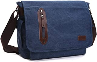 Canvas Handbags,14 Inch Laptop Messenger Bag for Men and Women,Canvas Leather Shoulder Bag for Work School(Black)