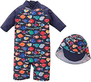 DNggAND Baby Toddler Boys One Piece Swimsuit Rainbow Fish Printed Bathing Suit Swimwear with Hat Rash Guard Surfing Suit UPF 50+
