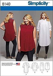 Simplicity 8140 Women's Plus Size Tunic Sewing Pattern, Sizes 18W-24W