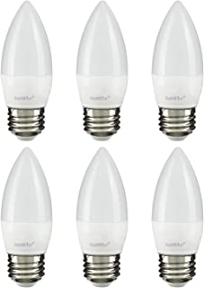 Sunlite 41380-SU LED Torpedo Tip B11 Chandelier Light Bulb, 7 Watts (60W Equivalent), 500 Lumens, Medium Base (E26), Dimmable, Energy Star, 27K - Warm White, 6 Pack, Frost