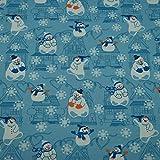 Sweatstoff Schneemänner, Häuser, angeraut, blau (50cm x