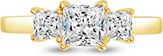 Solid 14k Yellow Gold Princess Cut Three Stone Solitaire Engagement Ring CZ Cubic Zirconia (1.50cttw.75ct. Center)