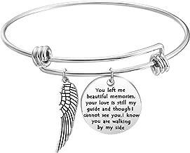 KUIYAI Memory Bracelet with Guardian Angel Loss Jewelry Remember Loved One You Left Me Beautiful Memories Bracelet