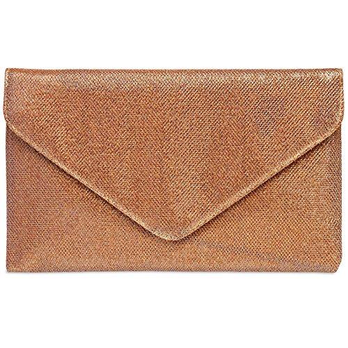 Caspar TA357 große elegante Damen Glitzer Envelope Clutch Tasche Abendtasche, Größe:One Size, Farbe:kupfer