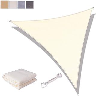 SUNNY GUARD Toldo Vela de Sombra Triangular 3x3x4.25m HDPE Transpirable protección UV para Patio, Exteriores, Jardín, Color Crema