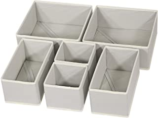 DIOMMELL Foldable Cloth Storage Box Closet Dresser Drawer Organizer Fabric Baskets Bins Containers Divider with Drawers for Clothes, Underwear, Bras, Socks, Lingerie, Clothing, Set of 6