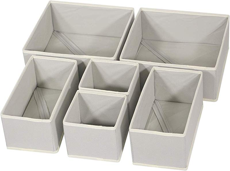 DIOMMELL Foldable Cloth Storage Box Closet Dresser Drawer Organizer Fabric Baskets Bins Containers Divider With Drawers For Clothes Underwear Bras Socks Lingerie Clothing Set Of 6
