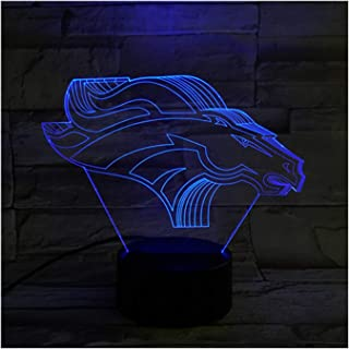 Denver Broncos Light Illusion Lamp Bedside Table Lamp, 7 Colors Changing Touch Switch Desk Decoration Lamps Birthday with Acrylic Flat & ABS Base & USB Cable