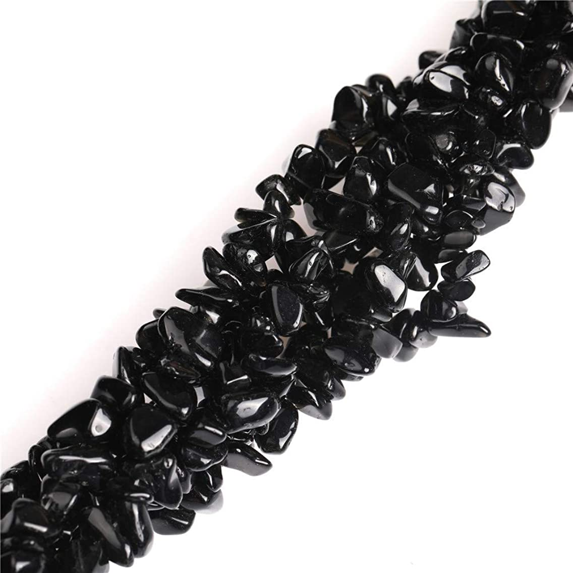 6-8mm Black Glass Gravel Gemstone Chips Beads for Jewelry Making Wholesale Beads Loose Beads Freeform Black 34