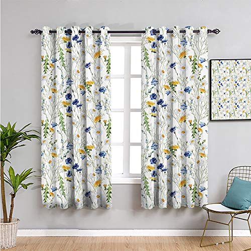 floral roses decor Black Out Curtain Panels for Bedroom, Curtains 45 inch length Bring beauty yellow white navy blue green W63 x L45 Inch