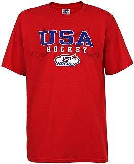 USA Hockey Adult Ice Hockey Crossed Hockey Stick Logo T-Shirt Tee, Red HG6114H