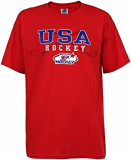 USA Hockey Adult Ice Hockey Crossed Hockey Stick Logo T-Shirt Tee, Red HG6114H