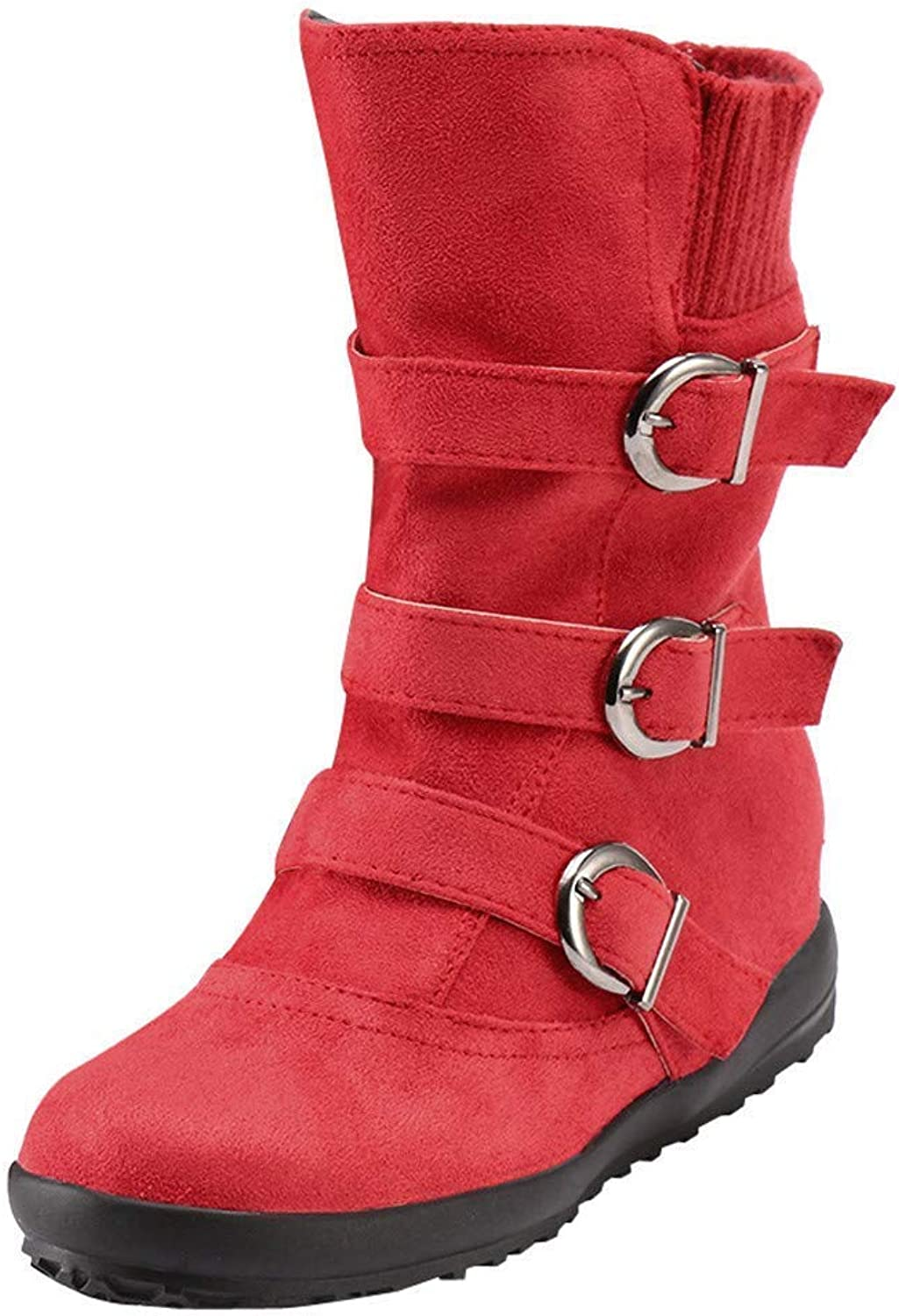 JaHGDU Women Suede Round Toe Zipper Flat Red Solid color Buckle Keep Warm Winter Snow Fashion Stylish Personality Wild Ladies Boots
