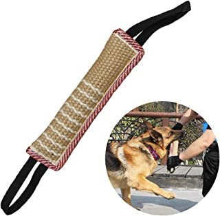 Dog Tug Toy Dog Bite Pillow Jute Bite Toy with 2 Handles - Best for Tug of War, Puppy Training Interactive Play - Interactive Toys for Medium to Large Dogs