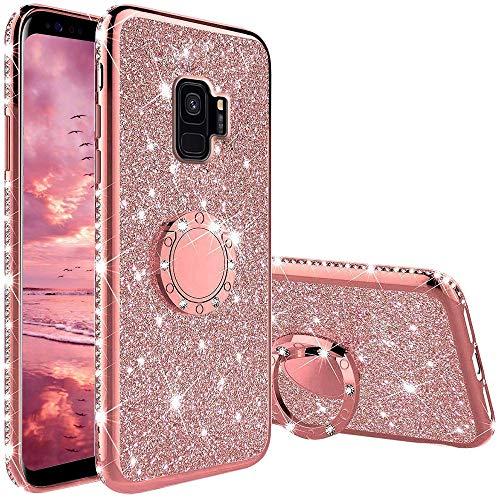 XTCASE Cover Glitter per Samsung Galaxy S9, Custodia Brillantini Diamanti con Supporto Girevole a 360 Gradi, Ultra Sottile Morbid TPU Silicone Antiurto Protettiva Case, Rosa