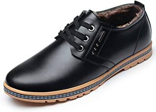 2019 Mens New Lace-up Flats Men's Casual Comfortable British Style Low-top Shoes Fashion Oxford Fleece Inside Pure Color Lace Up Round Toe Flat Dress Shoes Anti-Slip