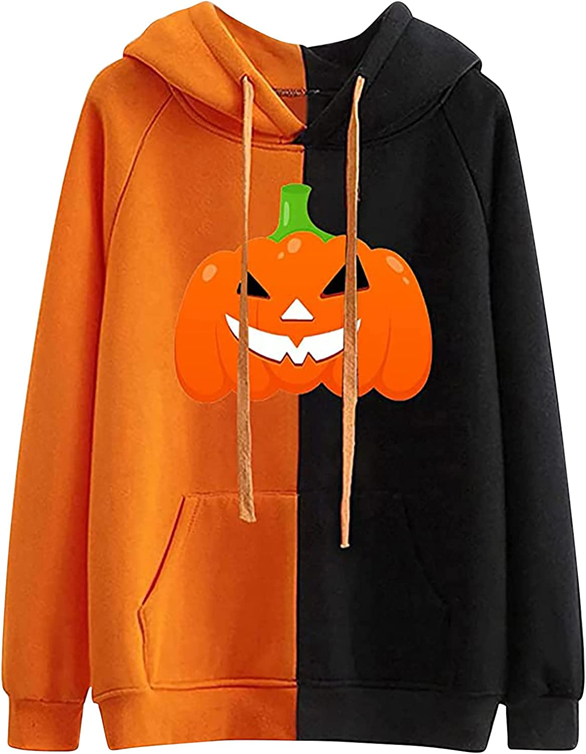 Pumpkin Smile Face Print Hoodies For Women Halloween Color Stitching Sweatshirt Casual Long Sleeve Pockets Pullover