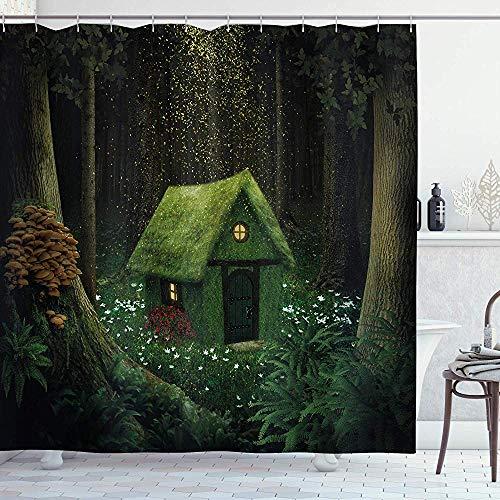 abby-shop Fantasie-Duschvorhang, surreales kleines Waldhaus im Moos-verzauberten Waldelfen-Entwurf, Jäger-Grün