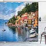 Ambesonne Italian Shower Curtain, Summer Village by The Mediterranean Sea with Yacht Boats Idyllic Town Panorama, Cloth Fabric Bathroom Decor Set with Hooks, 84' Long Extra, Blue Grey