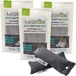 MOSO NATURAL Mini Air Purifying Bag Shoe Deodorizer. Odor Eliminator for Gym Bags, Sneakers and Sports Gear Charcoal Color 6 Pack