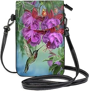 ZZKKO Mini-Umhängetasche mit Kolibri-Motiv, florales Muster, Fuchsia, für Handy, Geldbörse, Geldbörse, Handtasche, Leder, ...