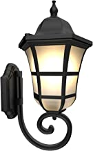 Bomcosy Outdoor Wall Sconce Light Classical Waterproof Wall Lantern Matte Black Finish Plus Frosted Glass Exterior Wall Li...