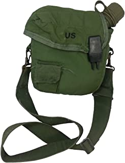 Military Outdoor Clothing New 1 Qt OD Canteen with Used 1 Qt OD Canteen Cover with Strap - K1025