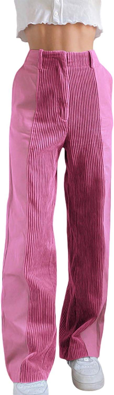 Honganda Fashion Women's Straight Leg Pants Corduroy Mid Waist Patchwork Corduroy Pants Casual Trousers with Pockets