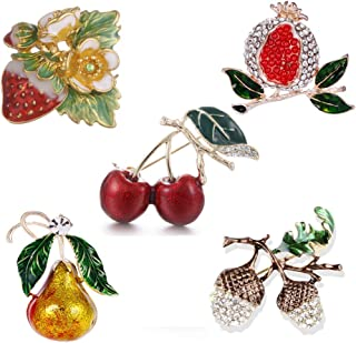 Ioffersuper 5 Pcs Cherry Strawberry Pear Pomegranate and Grape Rhinestone Crystal Metal Brooch Pin, Brooch Jewelry Kit for Girls Women