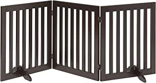 Unipaws Freestanding Step Over Dog Gate, Foldable Pet Fence, Indoor Wood Barrier, Assembly Free Stair Gate with Support Fe...