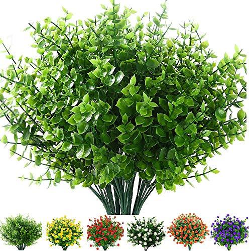 7 Bundles Artificial Grasses Outdoor Fake Grasses for Decoration UV Resistant No Fade Faux Plastic Plants Garden Porch Window Box Décor(Green)