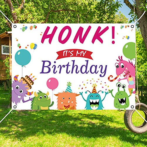 Allenjoy HONK It's My Birthday Backdrop for Kids Happy Party Decoration Supplies Indor Outdoor Banner Background Lawn Yard Sign Flag 84.6x59 Inch Quarantine Bday Hanging Wall Decor Durable Fabric