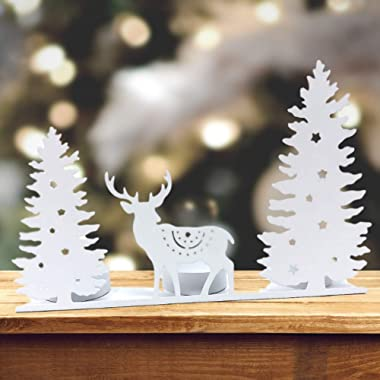 BANBERRY DESIGNS Tealight Candle Holder - White Metal Winter Scene - Deer and Evergreen Trees with Star Cut Outs - Holds 3 Te