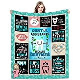Joyloce Dental Assistant Practitioner Blanket Birthday Gift 60'x50' - Dental Hygienist Physician Assistant Nurse Women - Tooth Picture Decor Throws Blankets for Dental Clinic Hospital Home Sofa Bed