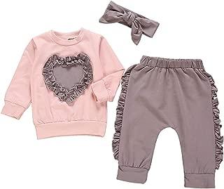 Newborn Baby Girl Clothes Love Heart Sweatshirt+Ruffle Pants+Headband Outfit Set