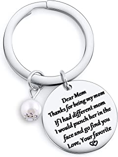 Cutest Dad Mom Keychian Father`s Day Gift Birthday Gift for Mom Necklace Christmas Gift for Grandma Grandpa