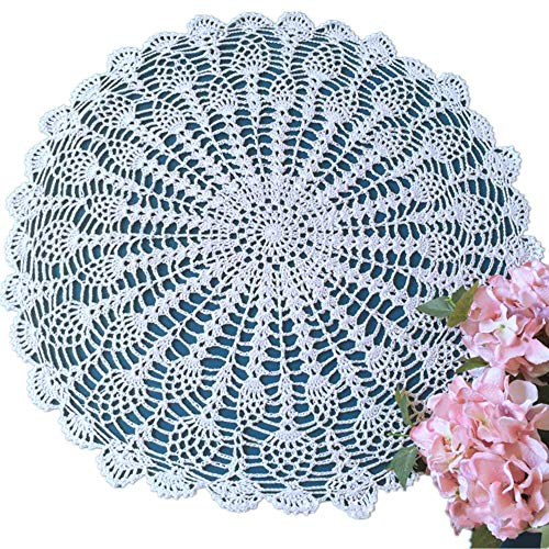Yizunnu - Mantel Redondo de Crochet Hecho a Mano, algodón, 50 – 55 cm, Color Blanco