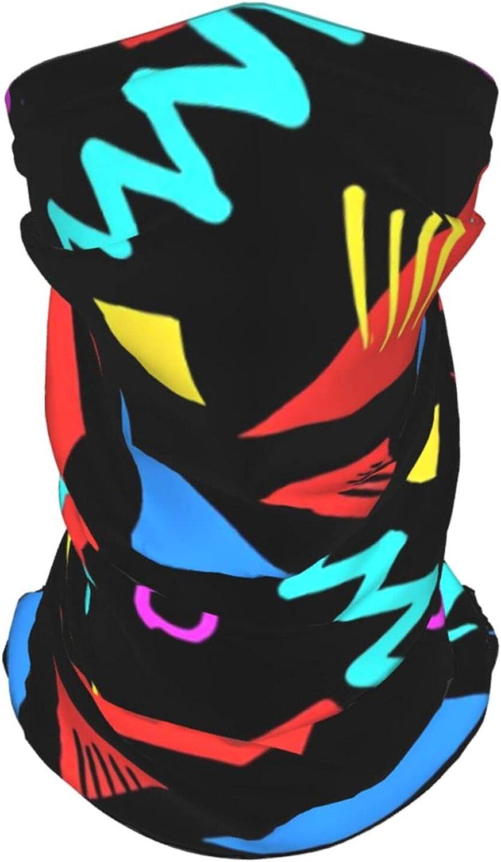 Funny Retro 80s Geometric Neck Gaiter Multipurpose Headwear Ice Silk Mask Scarf Summer Cool Breathable Outdoor Sport 2 Pcs