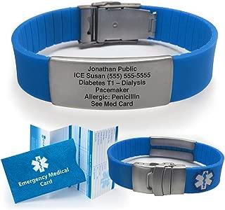 Silicone Sport Medical Alert ID Bracelet - Blue (Incl. 5 Lines of Custom Engraving). Choose Your Color! -