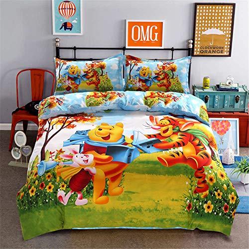 Qunqun Disney Cartoon Winnie Pooh Ferkel Tigger mantas Juego de ropa de cama cama Rey Reina tamaño funda nórdica