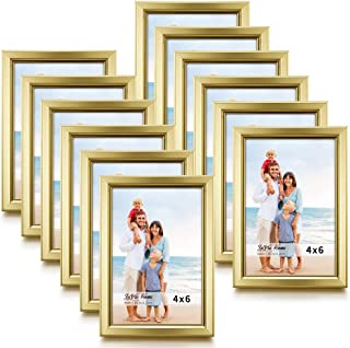 LaVie Home 4x6 Picture Frames (12 Pack, Gold) Simple Designed Photo Frame with High Definition Glass for Wall Mount & Table Top Display, Set of 12 Classic Collection