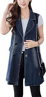 Omoone Women's Button Up Mid Long Ripped Denim Jean Vest Waistcoat