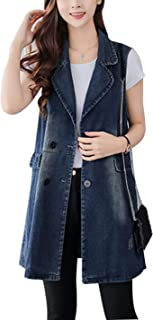 Women's Button Up Mid Long Ripped Denim Jean Vest Waistcoat