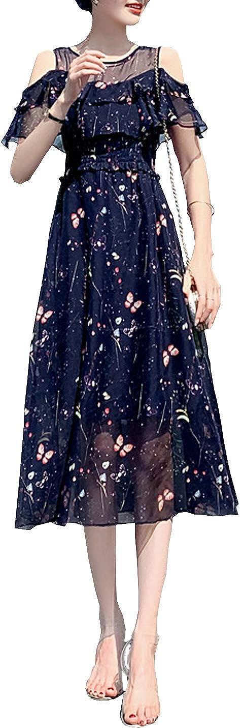 D.B.M Ladies' Slim Lace Crewneck 3/4 Sleeve Butterfly Print Chiffon Dress