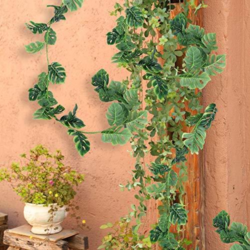 LetCart 1.98m/6.5ft Fake Long Rattan Leaves Artificial Ivy Greenery Garland Hanging Vine Plan for Wedding Garland Decor/Gardener
